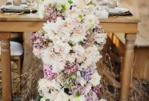 Table decoration ideas / Ideas for floral display to sit on rectangular tables and to incorporate candles.