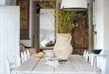 spaces / ideas for the home, with a few mentions: I have a soft spot for white walls, herringbone wooden floors, large windows, exposed brick walls, natural light, fireplaces and wooden beams