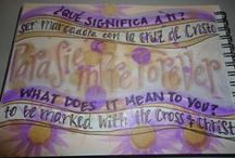 """Lenten Art 2014 / journal pages processing the question, """"What does it mean to be marked with the cross of Christ?"""" Some pages were created while in Peru in January 2014."""