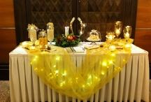 Στολισμός γάμου χειμωνιάτικο στυλ / Γαμήλια δεξίωση, με κουφέτα σε γυάλινα βάζα,χειμωνιάτικη διακόσμηση με κεριά, πέρλες, βιβλίο ευχών, καρδιές και λουλούδια