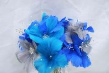 Fancy Feather Flowers & Feather Bridal Bouquets / Flower Stems & Bouquets created with Feathers