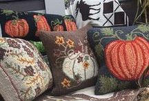 Autumn and Halloween / Fall is here with 100% hand hooked wool pillows and rugs from Chandler 4 Corners, designed in Vermont by Laura Megroz and Judith Reilly.