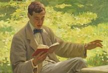 """Books and Reading Men / """"Every day I discover more and more beautiful things. It's enough to drive one mad. I have such a desire to do everything, my head is bursting with it."""" ― Claude Monet / by Boeken Roek"""