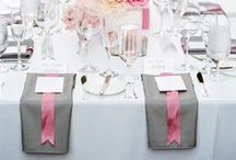 Gray Weddings / Gray tablescape designs for your elegant wedding. Discover gorgeous gray wedding ideas, beautiful gray wedding table linens, a variety of ways to fold gray cloth napkins and a myriad of wedding inspiration for your grey wedding.