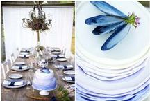 Navy Blue Weddings / Navy blue wedding table settings and styles. Featured are navy blue tablecloths, napkins, table runners and other table decorations.