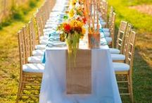 Burlap Weddings / Ideas for burlap-themed weddings. Discover insights on how to elegant display burlap tablecloths, burlap table runners, jute cords, rope twines and other burlap table decorations.
