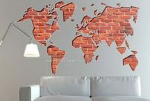 World Map Stickers / moonwallstickers