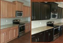Cabinet Refinishing / Buying new kitchen cabinets is out, refinishing existing cabinets with a custom look is in!