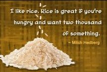 RICE / I like rice. Rice is great if you're hungry and want 2000 of something.  Rice is a beautiful food. It is beautiful when it grows, precision rows of sparkling green stalks shooting up to reach the hot summer sun. It is beautiful when harvested, autumn gold sheaves piled on diked, patchwork paddies. It is beautiful when, once threshed, it enters granary bins like a (flood) of tiny seed-pearls. It is beautiful when cooked by a practiced hand, pure white and sweetly fragrant.