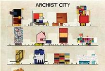 ARCHIST CITY / Art and architecture collide in this playful new series of paintings by Federico Babina. What if Andy Warhol designed a mod apartment complex? Or Joan Miró a museum? Babina has taken 27 artists and reimagined their work as places where people can live and work.
