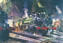 Terence Tenison Cuneo / 1 Nov 1907 (the same day as my own Dad !!) - 1996.  British artist.  Invariably painted industrial subjects unless acting as illustrator for books.  All were done with extraordinary attention to accuracy of detail - even down to his trademark mouse to be found in most of the works.