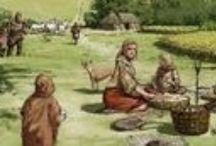 Bronze; Stone & Iron Ages,  & examples of their food. / Some Celtic, but from other eras, as well.