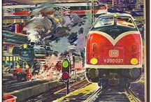 Trains illustrations and graphic design