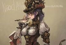Steampunk Inspiration / Victorian futuristic style. Highly detailed outfits in brown and gold tones