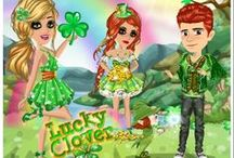 Lucky Clover / St. Patrick's day Lucky Clover weekly theme on MovieStarPlanet - all about green (and cats).
