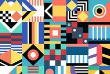 geometric and abstract. / Board containing mostly posters and images using abstract and geometric shapes.