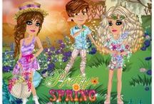 Pretty Spring / Inspiration for the Pretty Spring theme on MovieStarPlanet - all about pretty dresses, romantic hair and light colours!