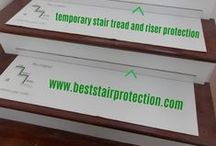 36in x 12in Hardwood Stair Protection Pads - 2in Riser Protector / Hardwood Stair Protection Pads w/ 2in Riser Protector.