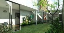 Casa Ávila / Uma casa projetada para acolher a família em um grande jardim. Implantada em um terreno pequeno urbano, priorizando a captura da luz do sol e a liberação do térreo para abrigar um jardim integrado aos ambientes.
