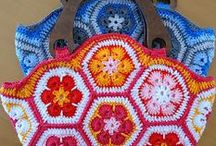 Crochet - African Flower patterns / This is what Heidi started and the craze had just gone bananas - so what to do with all those Granny smiths - make animals, handbags, etc.... the ideas are here but you may have a designer mind and go crazy doing other things . go do and explore..........................