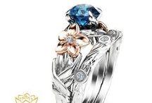 Wedding Ring Set's / Unique Wedding Ring Set's in solid 14K or 18K gold