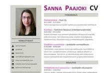 Sanna Paajoki - CV / Visuaalinen CV / ansioluettelo, jossa esittelen tietoja koulutuksestani ja työhistoriastani sekä työnäytteitä portfoliostani.