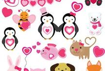 VALENTINE Clipart / Lots of cute Valentines Day clipart for Valentines Day crafts and scrapbooking.