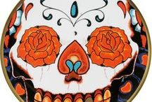 Tattoo Inspired Dinnnerware - 'Inkhead' / Inkhead, Edgy, Cool, Dinnerware, Tableware, Gold, 22kt Gold, Tattoo Inspired, Skulls, Tattoo, Ceramics, Plate, Cup, Saucer, Mug, Fine Bone China, Stoke-on-Trent, England, Wedding Gift, Unique