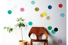 Abstract and Polka-Dotty Wall Decor / abstract shapes, polka dots, wall stickers, wall decor, random and colorful.