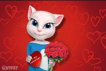 Talking  Angela - Valentine's Day ♥ / Love, love, love ♥ Happy Valentine's Day. xo, Talking Angela #LittleKitties #mytalkingangela #talkingangela #valentinesday #valentines