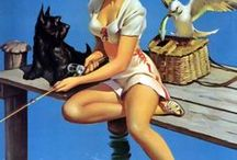 Scottie & Pin Ups / Vintage pin up girls with Scotties / by Jean Parks