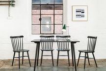 dining / our new dining room:  table /ikea melltorp;  chairs /renovated ton 615 311 1956 /similar to ton ironica and hay J77/