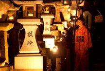 Dreamlike Beautiful Scene…! Night sakura with lanterns in Honmyoji