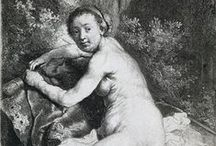 Nude Studies / In the 1640s Rembrandt etched a number of male nudes. They were probably all drawn directly into the etching plates. The drawing manner is always loose and open, and the models are positioned in typical studio poses. His series of female nudes was made around 1660. Rembrandt now concentrated entirely on the play of light and shade. The sharp outlines that he used in his earlier figures have disappeared. The subjects of some nude studies are derived from classical mythology.