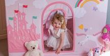 Princess Castle and Unicorn Children's Playhouse Collection / A magical fairytale children's playhouse fit for Queens and Princesses who dream of having their very own pretty pink castle.  To make the gift extra special your child's name(s), or a phrase of your choice, can be beautifully embroidered onto the front door. For example Tabitha's Princess Castle, Emily's House.  A co-ordinating toy storage basket and quilted floor mat are also available. These can also be personalised.