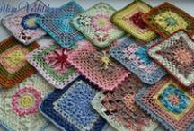 crochet motifs, flowers, squares etc