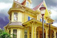 Painted Ladies / My love for Victorian homes with their grand porches, gingerbread trims and colorful personalities.  In my next life I want to live in one of these grand dames.