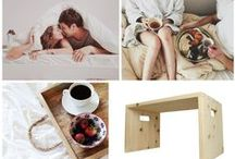 Breakfast in bed / Give litte bit of #attention to your darling in the morning, bring her/ him breakfast in bed! Organizational can help bedside tables made of wooden massif from 4betterdays.com http://www.4betterdays.com/betten-schlafen/nachttische.html?gLang=en