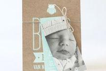 geboortekaartjes   met foto / Geboortekaartjes met foto, als label of gedrukt op de kaart