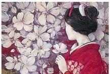 Japanese Art. / Geisha, Japanse style, schilderijen / by Jolanda van Hattum