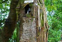 Cynthia's bird houses / Mes créations de nid en sculpture.