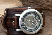 Men wrist watch, Leather cuff watch