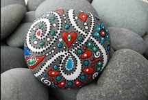 Rocks / Rocks that have been decorated with paint or glued beads...