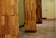 Beam project / Custom made wood design is used to add a creative flair to the beams used to stabilize the ground floor of the FRCH building in Cincinnati, Ohio.