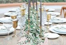wedding tablescapes / Beautiful tablescapes for weddings and special occasions, including stunning silk runners, linen napkins, vintage cutlery and handmade crockery.