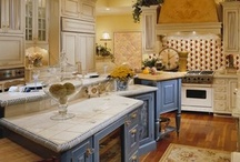 Phoenix French Country Estate / Interior design Portfolio for a Phoenix Home by Interiors Remembered:  www.interiorsremembered.com From yellow decorous floral wallpaper to beautiful cornflower blue in the kitchen, this interior space quietly demands attention.