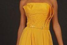 vestidos tons de creme e amarelos