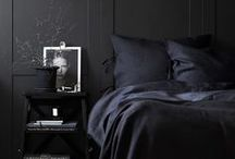 Colour inspiration- Black / Black colour inspiration for your home interiors design and styling. Black walls, fabrics and furnishings.