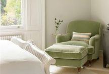 Colour Inspiration - Sage Green / Sage green, popular colour for interiors. Collection of interiors, fabrics and styles that use and suit sage green.