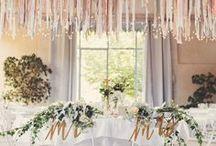 Wedding decor / Wedding decoration ideas, bunting, flowers, table decorations, creative ideas especially with fabric
